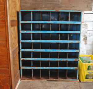 Antique Metal Cubbie Drawers Vintage Blue Unique Style Storage