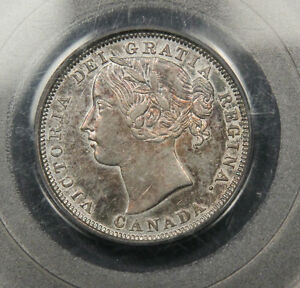 1858 Canada 20 Cents PCGS AU-55 certified. Rare 1 year type coin