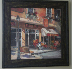 French florist painting with espresso brown frame.