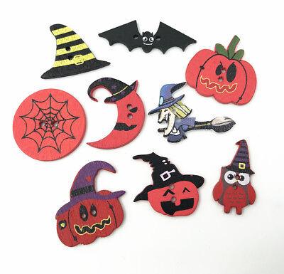 Random mixing Halloween button Wooden Fit decoration Kid's - Mix Halloween Kids