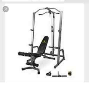 HOME GYM COMPLET : RACK BAR BENCH & PLATES