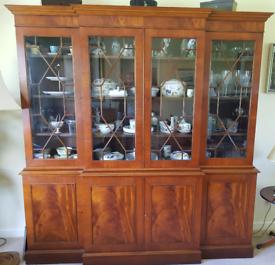 Mahogany reproduction breakfront display cabinet