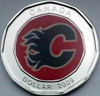 **CALGARY FLAMES NHL HOCKEY** SILVER-COLOR LOONIE DOLLAR COIN