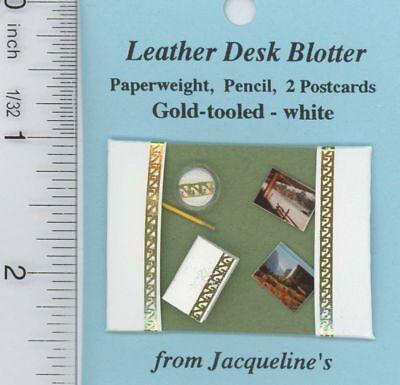Dollhouse Miniature White Leather Desk Blotter w/Accessories by Jacqueline ()