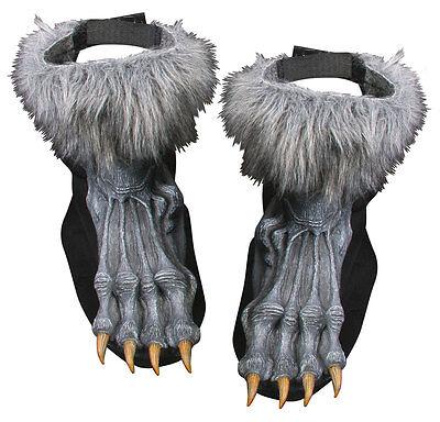 Werewolf Feet Were Wolf Shoe Covers Grey Silver Fancy Dress Costume - Grey Werewolf Feet