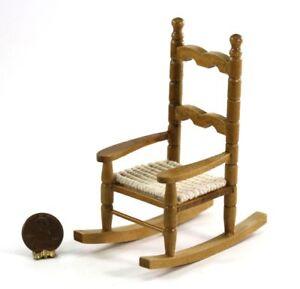 dollhouse miniature oak wood rocking chair