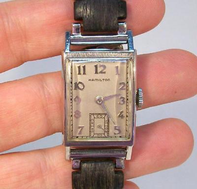 Fine Vintage Mens HAMILTON Real PLATINUM Wrist Watch Estate Piece Kesten Band