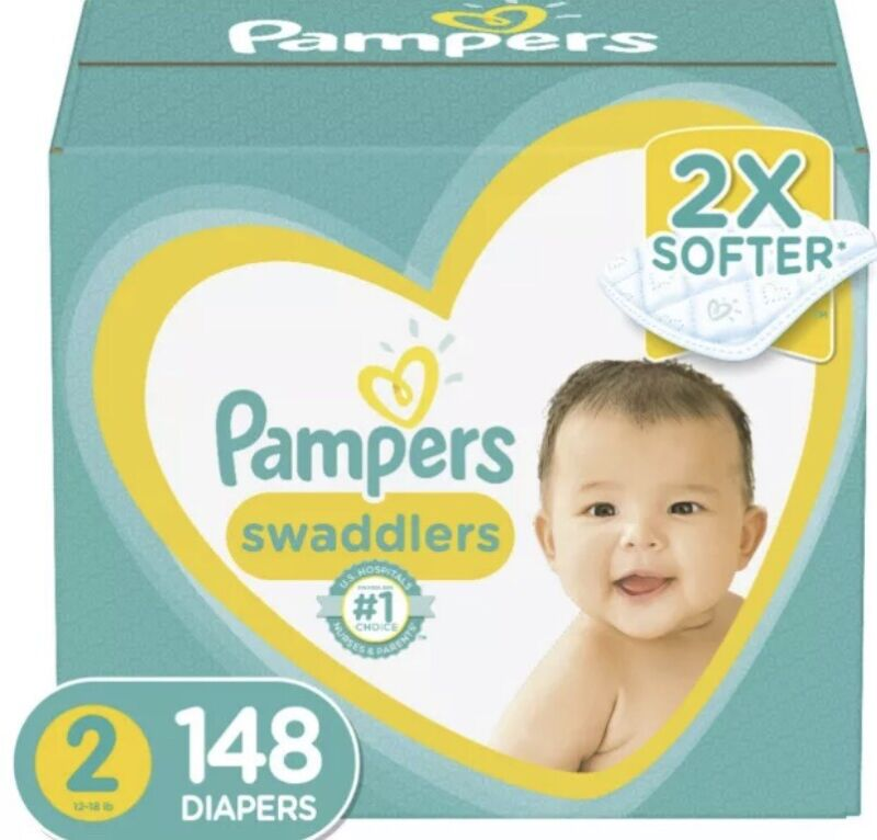 Pampers Swaddlers Disposable Baby Diapers Size 2, 148 Count