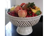Large White Porcelain Fruit Bowl and Porcelain Fruit