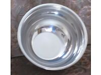 "Large, MIXING BOWL WITH RIM, Stainless Steel, 10"" x 5.5"" BRAND NEW WITH TAG ON BASE, NEVER USED."