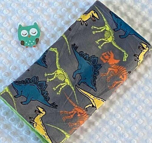 Handcrafted, Dinosaurs Minky Print & Green Minky Bubble Baby Burp Cloth
