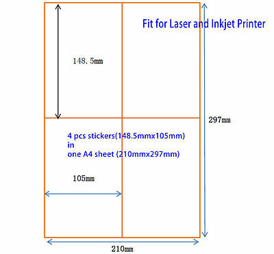 400 Pcs A6 Shipping Label Sticker For Laser Inkjet Printer 10.5cm X 14.85cm