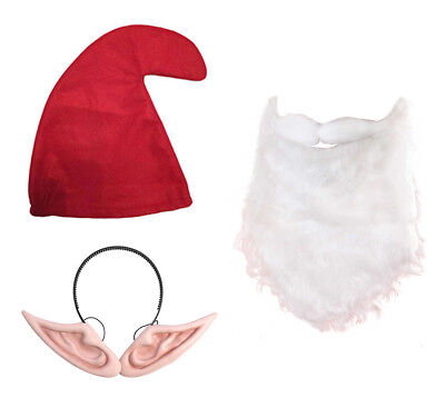 Big Ears Set (Red Gnome Hat, Beard & Pixie ears on Headband) Noddy Smurf - Red Beard Kostüm