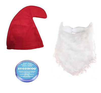 Red Smurf Hat, Beard & Pale Blue Snazaroo Set Fancy Dress Gnome Papa - Red Beard Kostüm