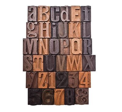 Lot Of 35 Vintage Letterpress Wooden Letters Numbers Type Print Blocks 1-inch