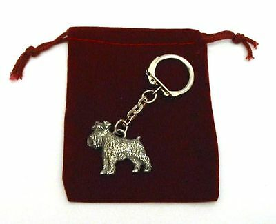 Miniature Schnauzer Dog Pewter Keyring Free Pouch Mothers Day Gift Vet Kennels