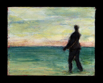 Man Looks Out To Sea Hopeful Sunset Sky Seascape Feet In Sand Fine Oil Painting