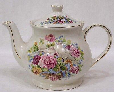 Vintage Sadler Teapot Pink Roses White Doves Windsor Made in England