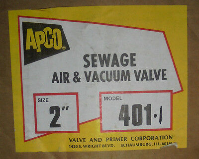 2 Apco Sewage Air And Vacuum Valve Model 401