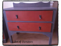 Chest Of 2 Drawers Hand Painted in Grey & Fire Brick Chalk Paint.
