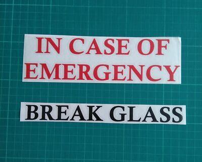 IN CASE OF EMERGENCY BREAK GLASS VINYL STICKER IKEA RIBBA MAKE YOUR OWN -