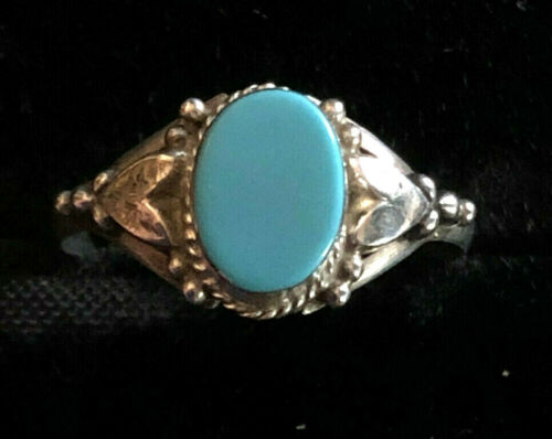 VTG Sterling Silver Ring Turquoise Southwest Native Sz 7.25 1.4g 925 #1136