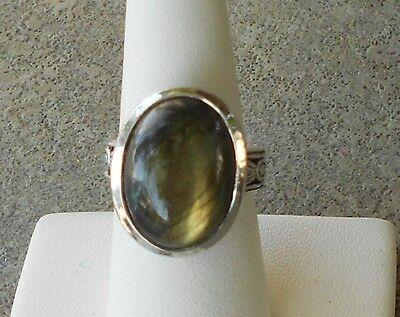 Labradorite Sterling Silver Ring ~ Zuni Signed Bernard Cachini BJC ~ Size 7