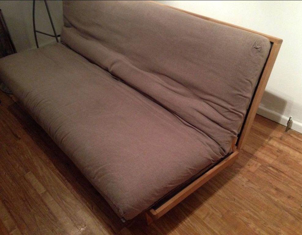 Futon Company Fusion 3 Seater Solid Oak Steel Sofa Bed Cover Cost 953 Vgc Can Deliver