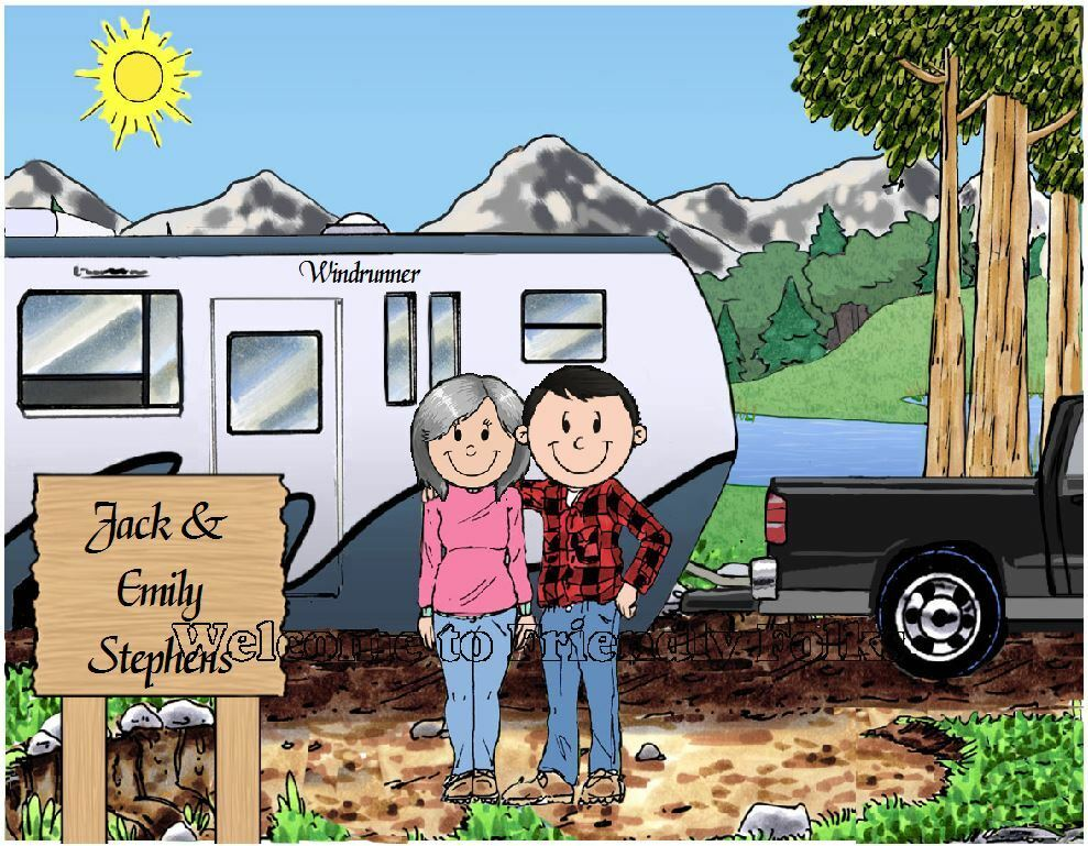 Small Personalized Pull Along Camper Picture - Makes A Great Gift  - $8.50