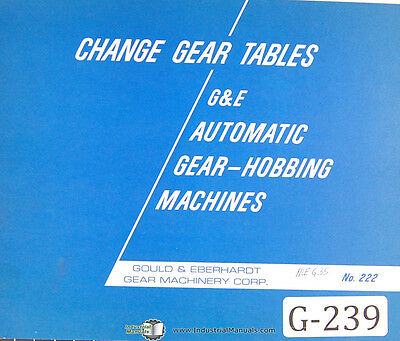 Gould Eberhardt Change Gear Tables Auto Gear Hobbing Manual
