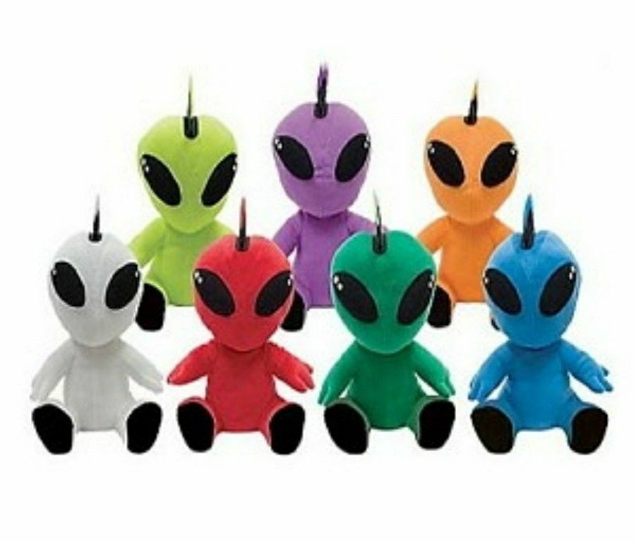 PLUSH PUNK ALIEN WITH MOHAWK STUFFED TOY WHITE-12 INCHES