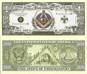 FREEMASON - MASONIC MILLION DOLLAR BILL $2.59 (w/Protector)