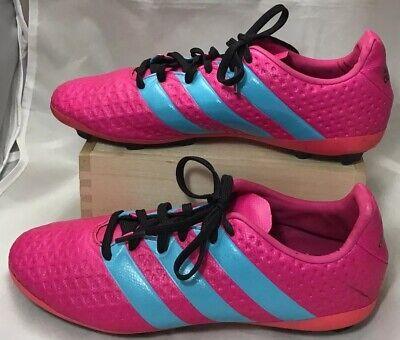 adidas Soccer Cleats size 4 1/2 Youth girls boys 4.5 Y pink blue (bin C)