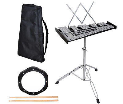 32 Note Glockenspiel Bell Kit W/Practice Pad +Mallets+Sticks+Stand+Carrying Case