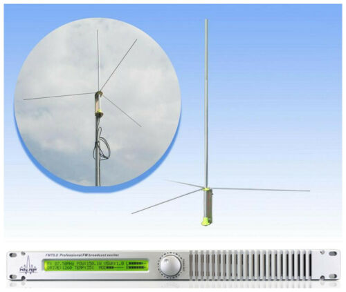 HLLY 50Watt 50W FM TRANSMITTER FMT5.0 Radio Station Professional Antenna Include