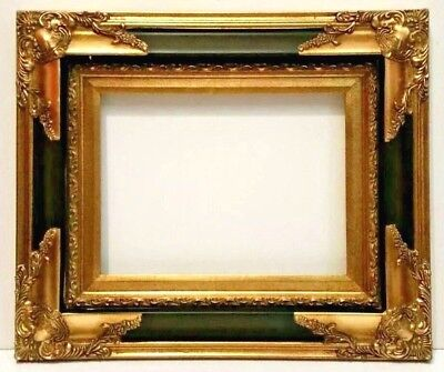 9 X 12 GOLD LEAF CARVED CORNERS BLACK PANEL REVERSE PICTURE FRAME 3 3/4