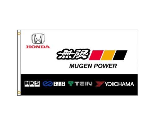 New 90x150cm Mugen Power Flag HKS Enkei Tein Yokohama Honda Racing