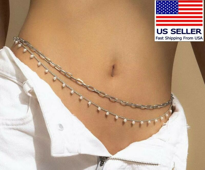 Waist Chain Silver double Layers Pearl Luxury Belly Bikini Beach Style