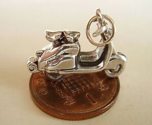 BEAUTIFUL ' MOPED - ENGINE  ' STERLING SILVER CHARM OPENS