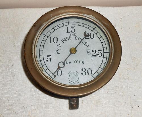 Antique Steam Boiler Gauge Wm. H. Page Boiler Co. New York