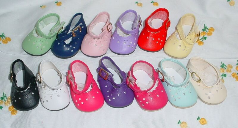 "DOLL Shoes, 85mm LIGHT BLUE Heart Cut for Chatty Cathy, My Twinn 20"""