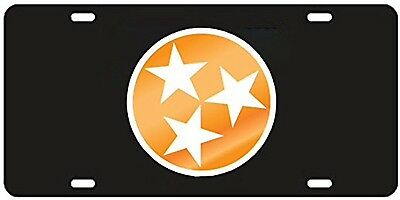Tennessee VolunteeRS Tri Star License Plate / Car Tag Black Licensed NCAA -