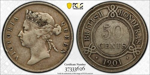 British Honduras, 1901 Victoria Fifty Cents, 50 Cents PCGS VF 25 10,000 Mintage.
