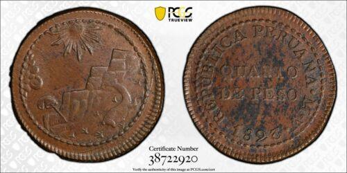 1823-V Peru 1/4 Peso PCGS MS63 Brown Lot#G727 Choice UNC!