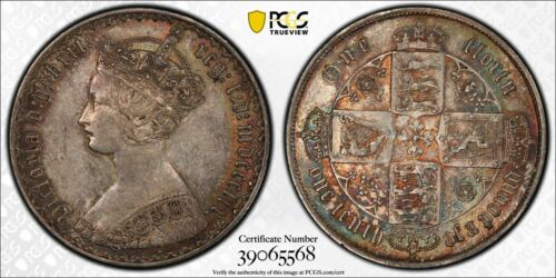 1859 Great Britain Gothic Florin PCGS AU53 Lot#G056 Silver!