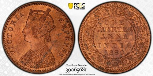 1880-C India 1/4 Anna PCGS MS64 Red Brown Lot#G165 Choice UNC! Incuse