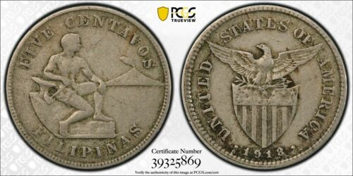 US PHILIPPINES FIVE CENTAVOS 1918-S PCGS VF 35 MULE ALLEN 4.08b RARE