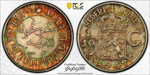MS67+ 1942-S Netherlands East Indies 1/10 Gulden, PCGS Secure- Rainbow Toned