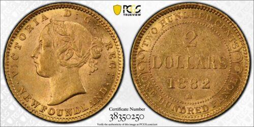 Newfoundland, Canada, 1882 H Victoria 2 Dollar Gold. PCGS MS 61. 25,000 Mintage.