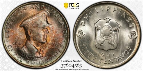 1947 S 50 CENTS PCGS MS 65 PHILIPPINES MACARTHUR KM 184 TONES